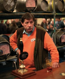 Peter Smith on bar duty at the Battersea Beer Festival