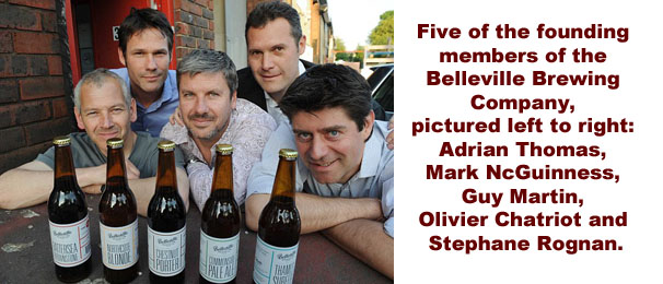 Five of the ten dads who are the founding fathers of the Belleville Brewery