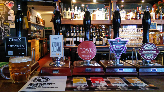 5 LocAle beers at CAMRA LocAle badged Railway, Streatham.