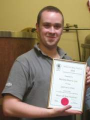 The brewer with the Certificate for the Battersea 2008 Beer of the Festival