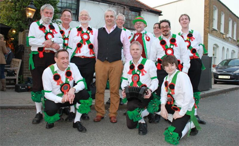 Licensee Andrew Ford with the Grensleeves Morris Men.